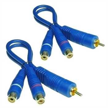 BLUE LINE Cinchkabel Y-Kabel, 2-fach geschirmt,