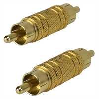 Cinchverbinder Stecker/Stecker vergoldet , Set